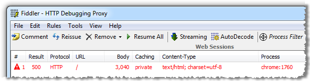 Fiddler trace showing HTTP 500 with custom errors on