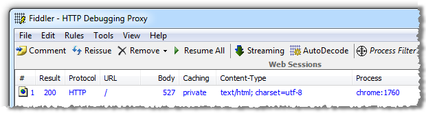 Fiddler trace showing HTTP 200 after defining a custom error page