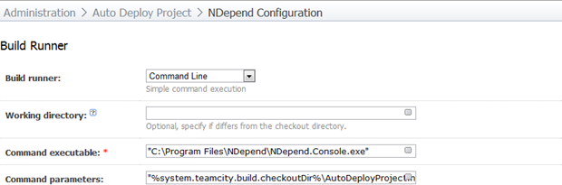 Configuring the build runner for NDepend