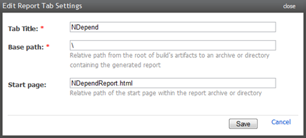 Adding an NDepend report tab