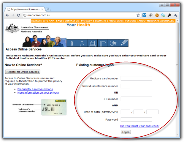 Confusing Medicare logon page