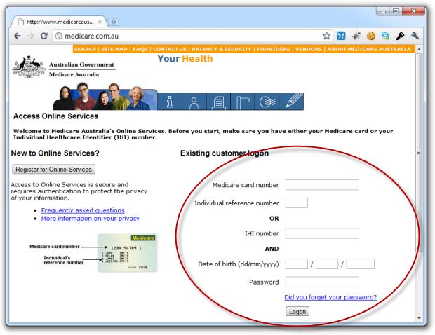 Confusing Medicare logon page