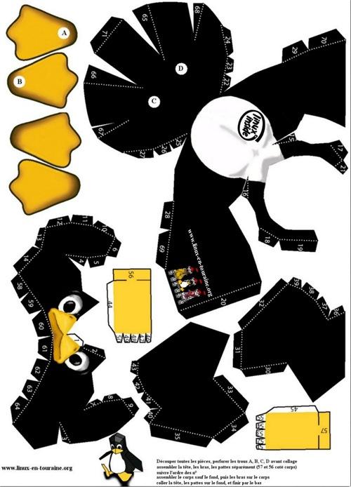Dibujos para niños de recortar y pegar, pingüino y pavo