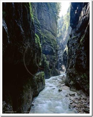 Garmisch-Partenkirchen, Oberbayern, Werdenfelser Land, Klamm, Reintal, Naturdenkmal, Blick auf Schlucht, Partnachklamm