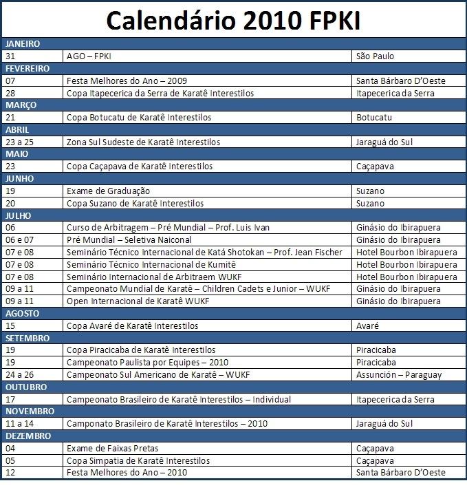 Calendário FPKI 2010