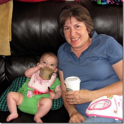 Elaine 21 Weeks Starbucks with Grandma Godby