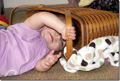 Elaine 6 months in Longaberger basket
