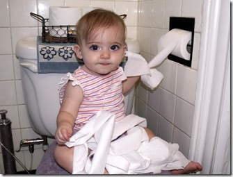 Elaine 7 months found the toilet paper roll