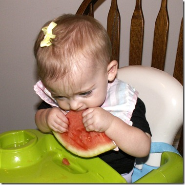 Elaine 9 months First Watermelon