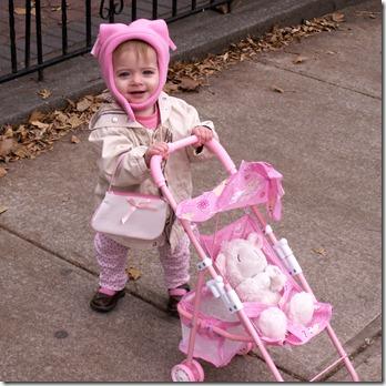 Elaine pushing the dolly stroller outside