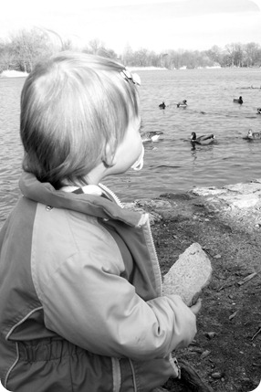 Elaine Feeding the Ducks at Prospect Park