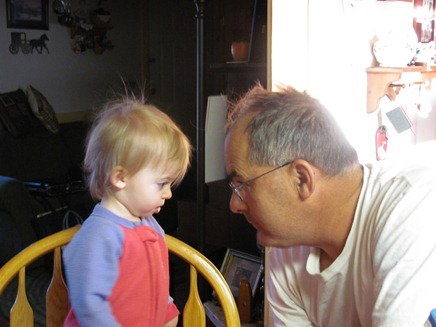 Elaine talking to Grandpa Godby