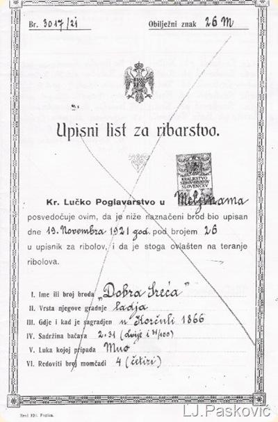 Upisni list barke iz 1921