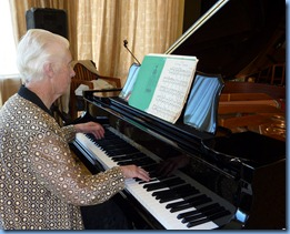 Dorothy Waddel playing the grand piano