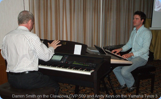 Some great duet playing as well with the Yamaha Tyros 3 brought into play. You can just see the edge of the big projector that meant everybody in the audience had a great view of the keyboards and fingers.