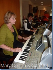 Mary Cohen playing the Tyros 2 keyboard with Carole Littlejohn adding accompanyment and vocals.