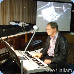 Dave Hallam absorbed in his playing for us on his brand new Yamaha PSR-910.