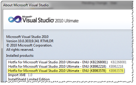 Visual Studio 2010 About Dialog