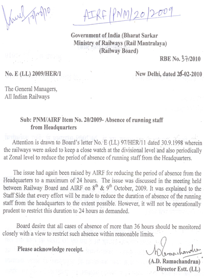 PNM/AIRF Item No. 20/2009 Absence of Running Staff from headquarters should be restricted to 24 hours