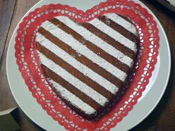Striped Heart Almond Torte