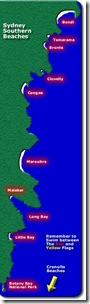Map of southern ocean beaches