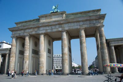 iconic brandenberg gate berlin germany with blue sky