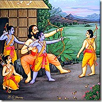 Rama and brothers learning from their guru