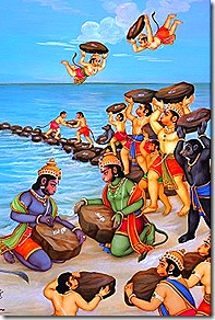 Monkeys building bridge to Lanka