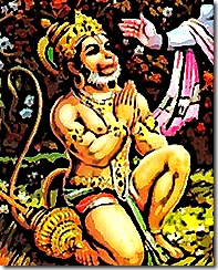 Hanuman surrendering to Lord Rama