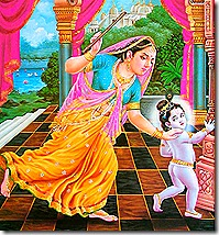 Mother Yashoda chasing after Krishna