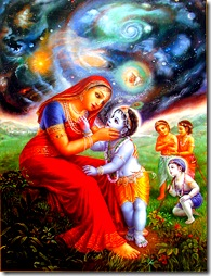 Mother Yashoda seeing the spiritual sky inside of Krishna's mouth