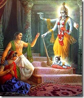 Krishna's appears before Devaki and Vasudeva
