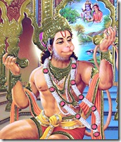 Hanuman chanting the glories of Sita Rama