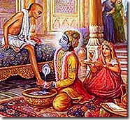 Krishna welcoming Sudama Vipra