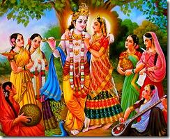 Radha, Krishna, and gopis