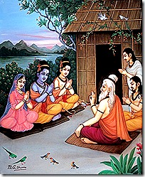Sita, Rama, and Lakshmana visiting sages