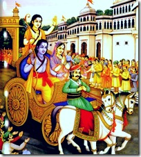 Sita, Rama, and Lakshmana travelling by horse and carriage