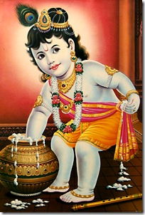 Krishna taking butter