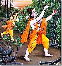 Rama and Lakshmana looking for Sita