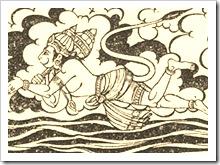 Hanuman flying to Lanka