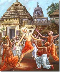 Lord Chaitanya dancing in sankirtana