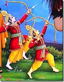 Lakshmana and Rama fighting a demon