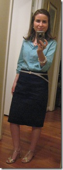 Anne in Turquoise Shirt and Navy Pencil Skirt with Cinema Sandals