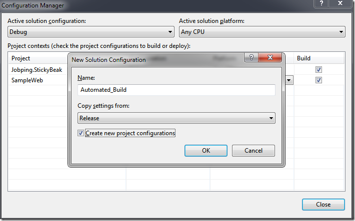 Creating the Configuration inside Visual Studio