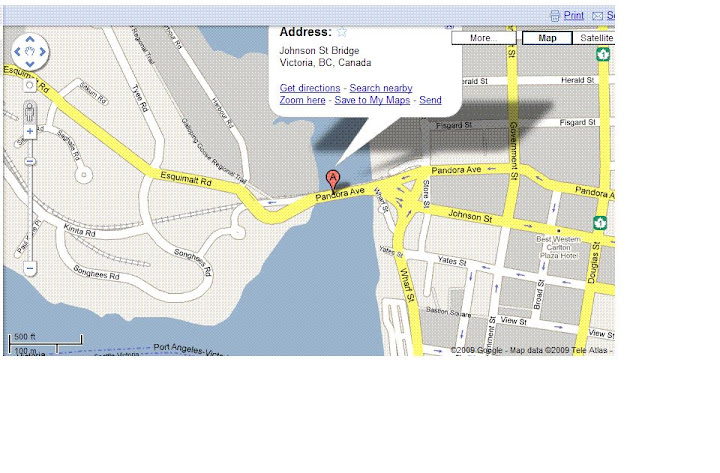 Map of Johnson Street Bridge and main arterials in yellow