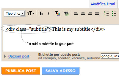 Add Subtitle for your Blogger blogs posting