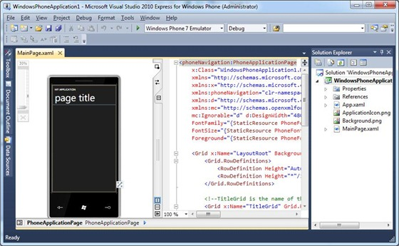 Microsoft Visual Studio 2010 Express for Windows Phone