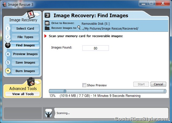 Memory card photo recovery