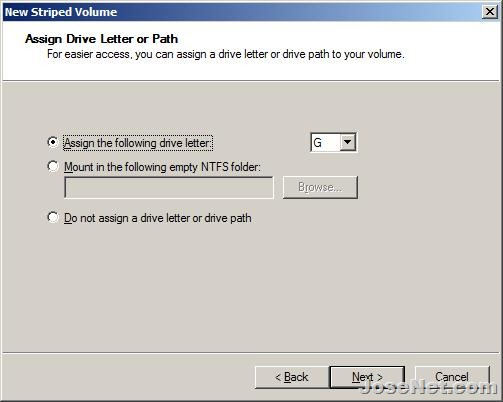 New Striped Volume - Assign a drive letter