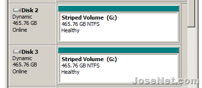 New Striped Volume - using 2 hard drives